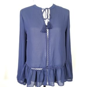 Ana a New Approach tassel cord blue blouse top. M
